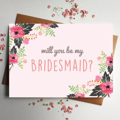 Pink Floral Bridesmaid? Card - Designed by Rodo Creative