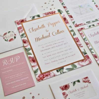 English rose garden rose gold foil wedding invasions designed by Rodo Creative