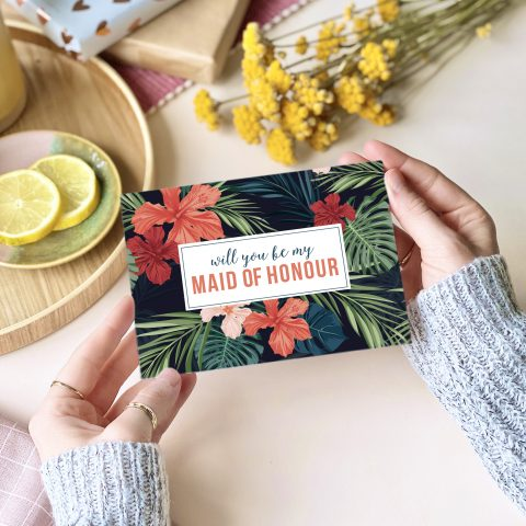 Will you be my Maid of Honour Tropical Card - designed by Rodo Creative in Manchester