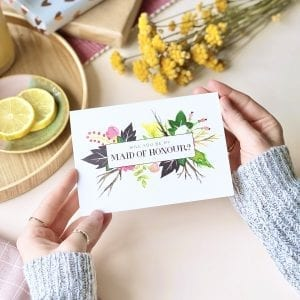 Will you be my Maid of Honour Floral Card - Designed by Rodo Creative