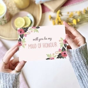 Will you be my Maid of Honour Pink Floral Card - designed by Rodo Creative in Manchester