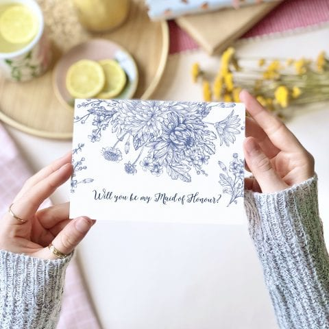Will you be my Maid of Honour? Blue Floral Card - designed by Rodo Creative in Manchester