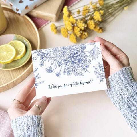 Will you be my Bridesmaid? Blue floral Card - designed by Rodo Creative in Manchester