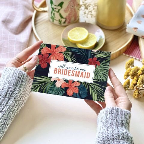 Will you be my Bridesmaid? Tropical Card - designed by Rodo Creative in Manchester