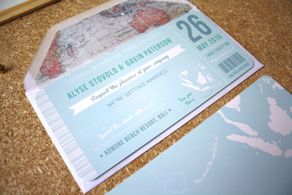 Wedding Invitations Manchester: Blue Boarding Pass Invitation