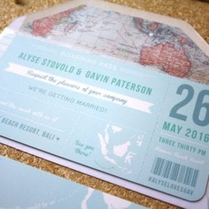 Blue Boarding Pass Wedding Invitation - Designed by Rodo Creative in Manchester