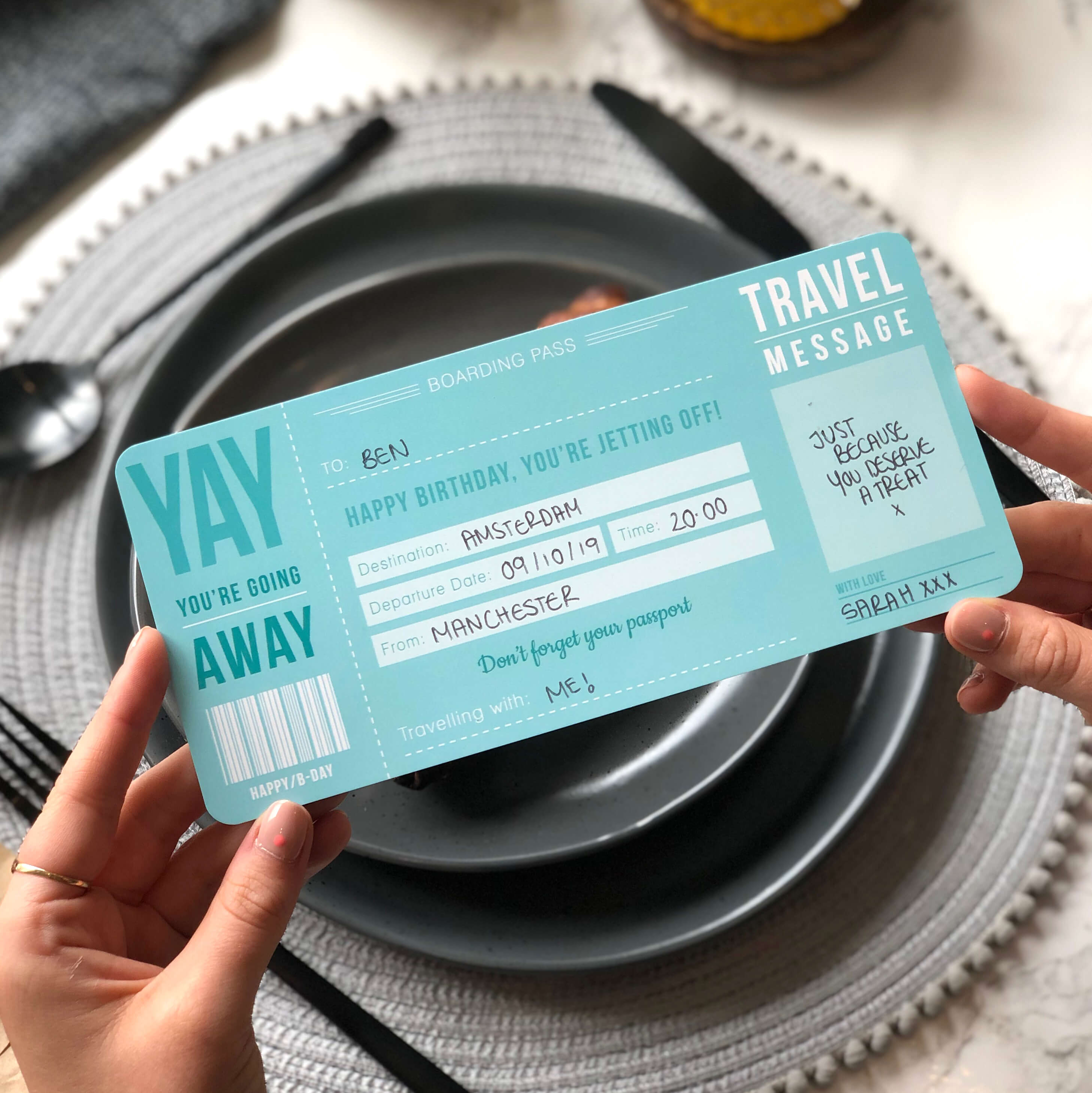 Blue Birthday Boarding Pass a great way to announce a surprise trip or holiday for that someone special