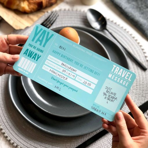 Blue Birthday Boarding Pass ticket gift designed by Rodo Creative in Manchester