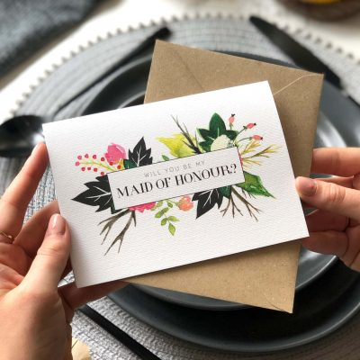 Will you be my Maid of Honour? Floral Card - Designed by Rodo Creative
