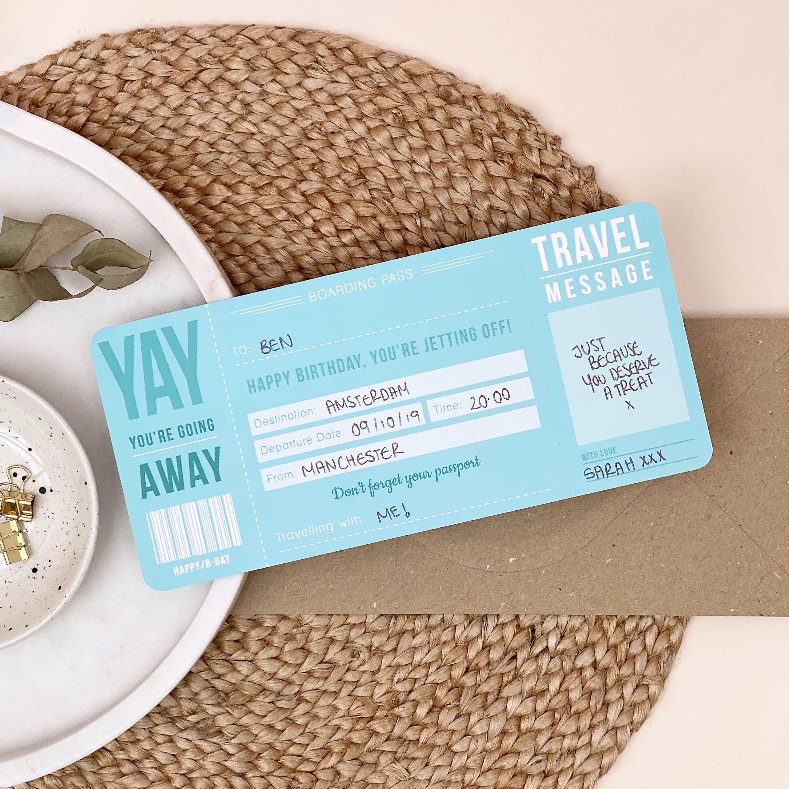 Blue Birthday Boarding Pass - Designed by Rodo Creative - Wedding stationery and greetings card design