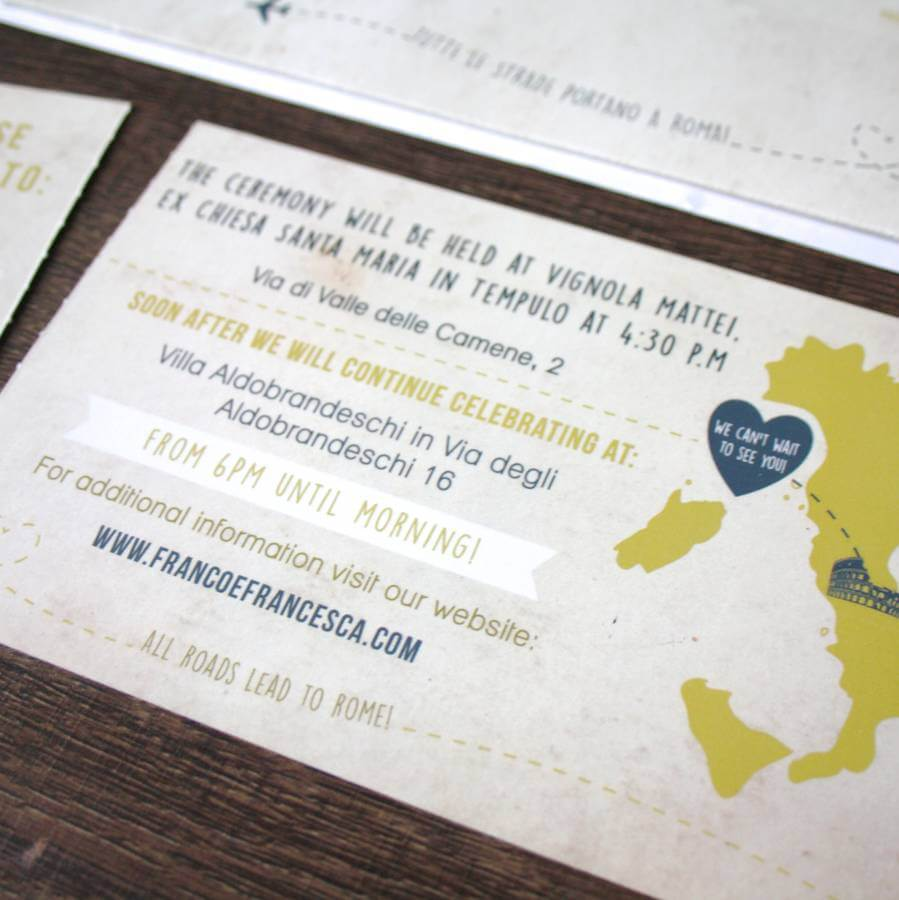 Italy Gold Boarding Pass Wedding invite- Designed by Rodo Creative in Manchester