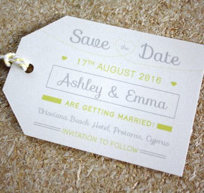 Lemon Luggage tag Save the Date designed by Rodo Creative in Manchester