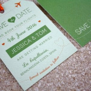 Green Luggage Tag - Wedding Save the Date - Designed by Rodo Creative in Manchester