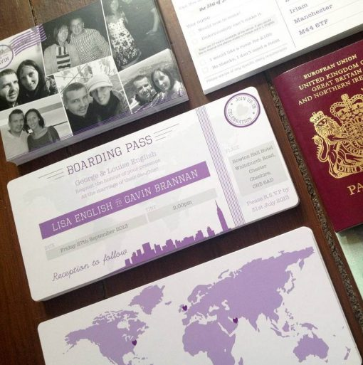New York Boarding Pass Wedding Invitation - Designed by Rodo Creative in Manchester