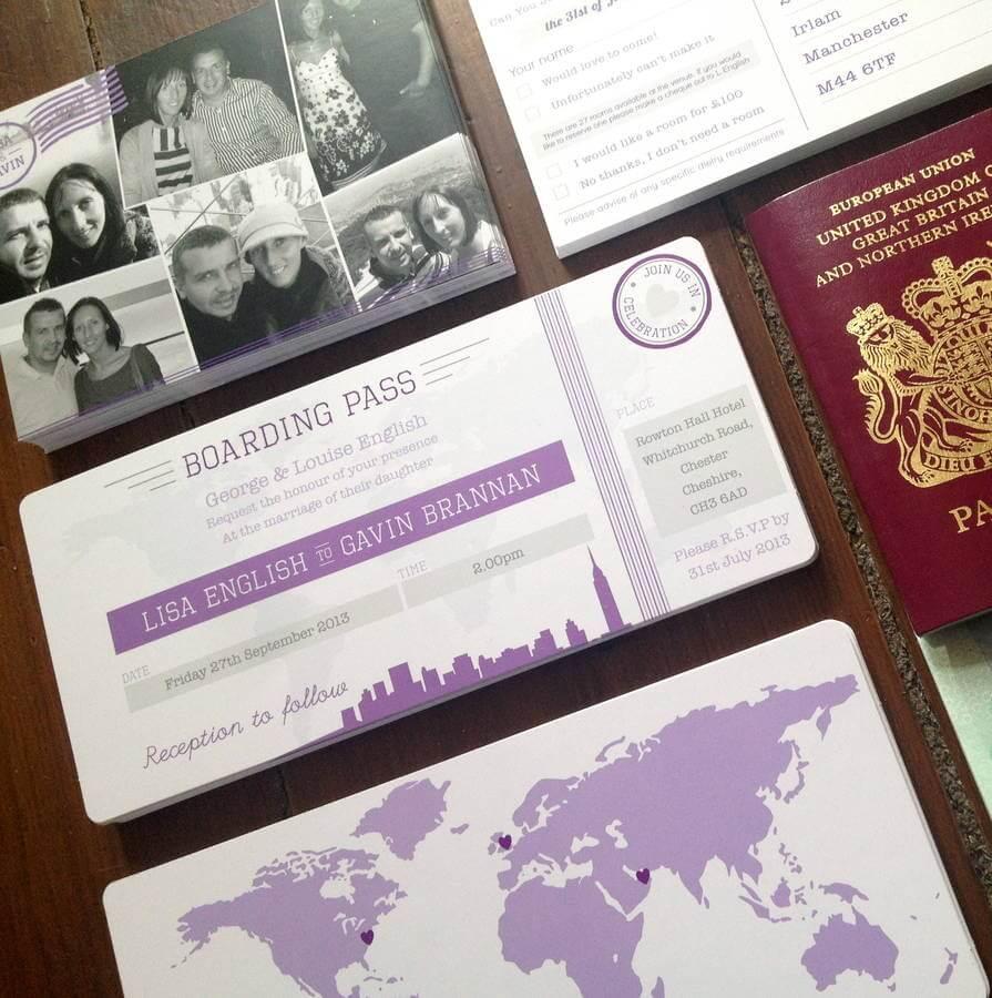 New York Boarding Pass Wedding Invitation - Rodo Creative