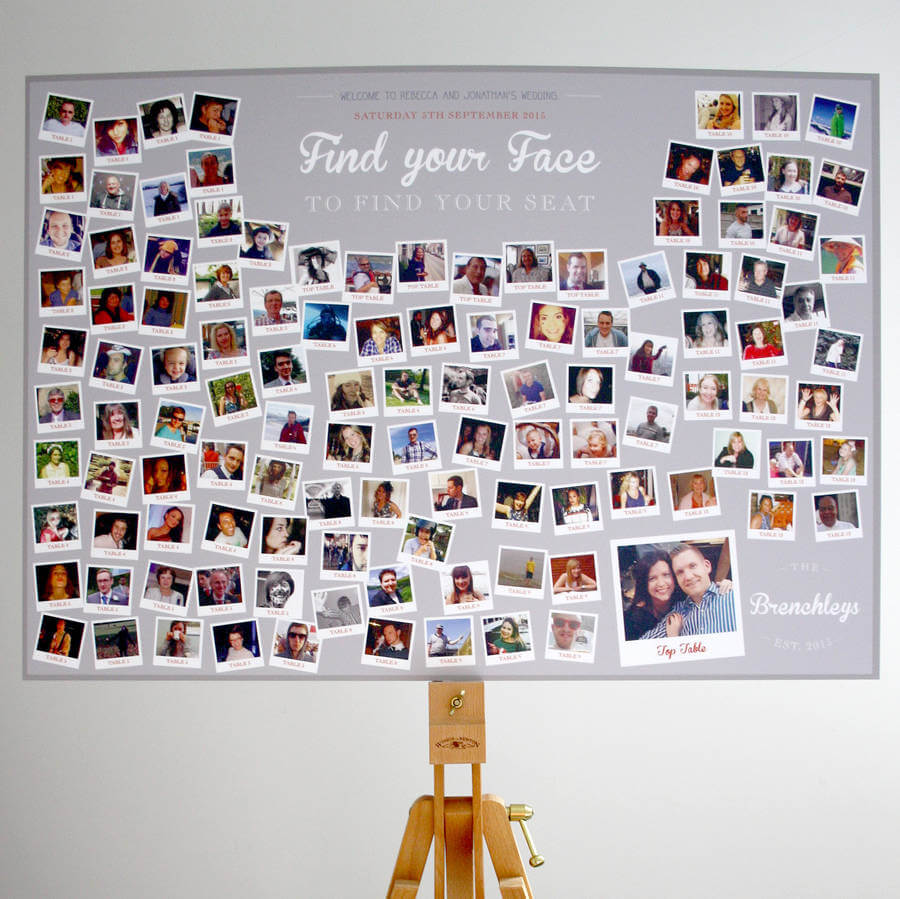 Photo Collage Find Your Face Wedding Table Plan Rodo