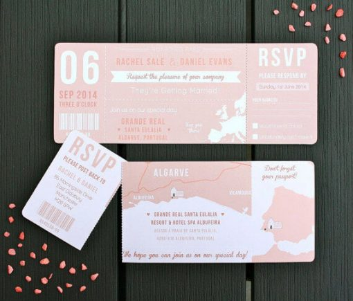 Pink Boarding Pass Wedding Invitation - Designed by Rodo Creative in Manchester