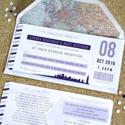 Purple Boarding Pass Travel Wedding - Designed by Rodo Creative in Manchester