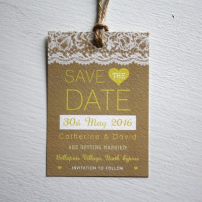 Lace Luggage Tag - Wedding Save the Date - Designed by Rodo Creative in Manchester