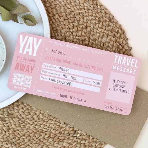 Pink Birthday Boarding Pass - Designed by Rodo Creative - Wedding stationery and greetings card design