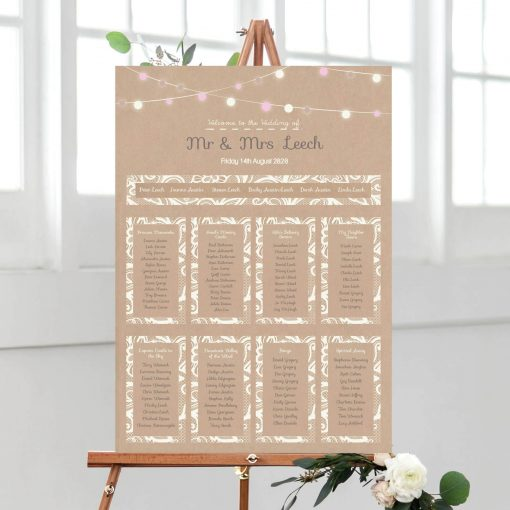 Festooned Lighting Lace Table Plan - Designed by Rodo Creative in Manchester