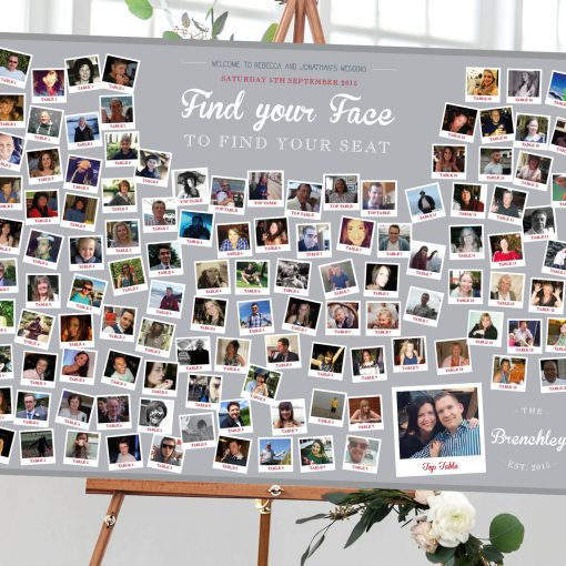 Photo Collage 'Find Your Face' Wedding Table Plan - Designed by Rodo Creative in Manchester