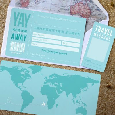 A card that announces a surprise trip away for someones birthday!