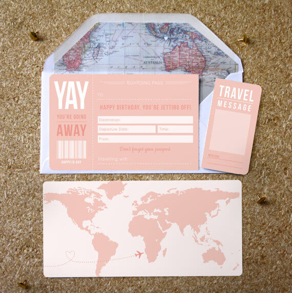 Pink Birthday Boarding Pass Designed in Manchester by Rodo Creative