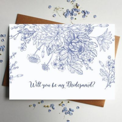 Will you be my Bridesmaid card in blue floral - Designed by Rodo Creative