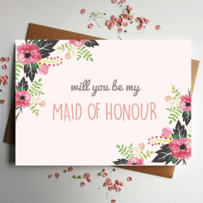 Will you be my Maid of Honour pink floral card - Designed by Rodo Creative