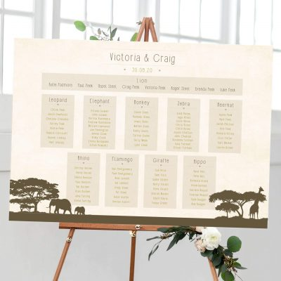 Safari Wedding Table Plan - Designed by Rodo Creative in Manchester