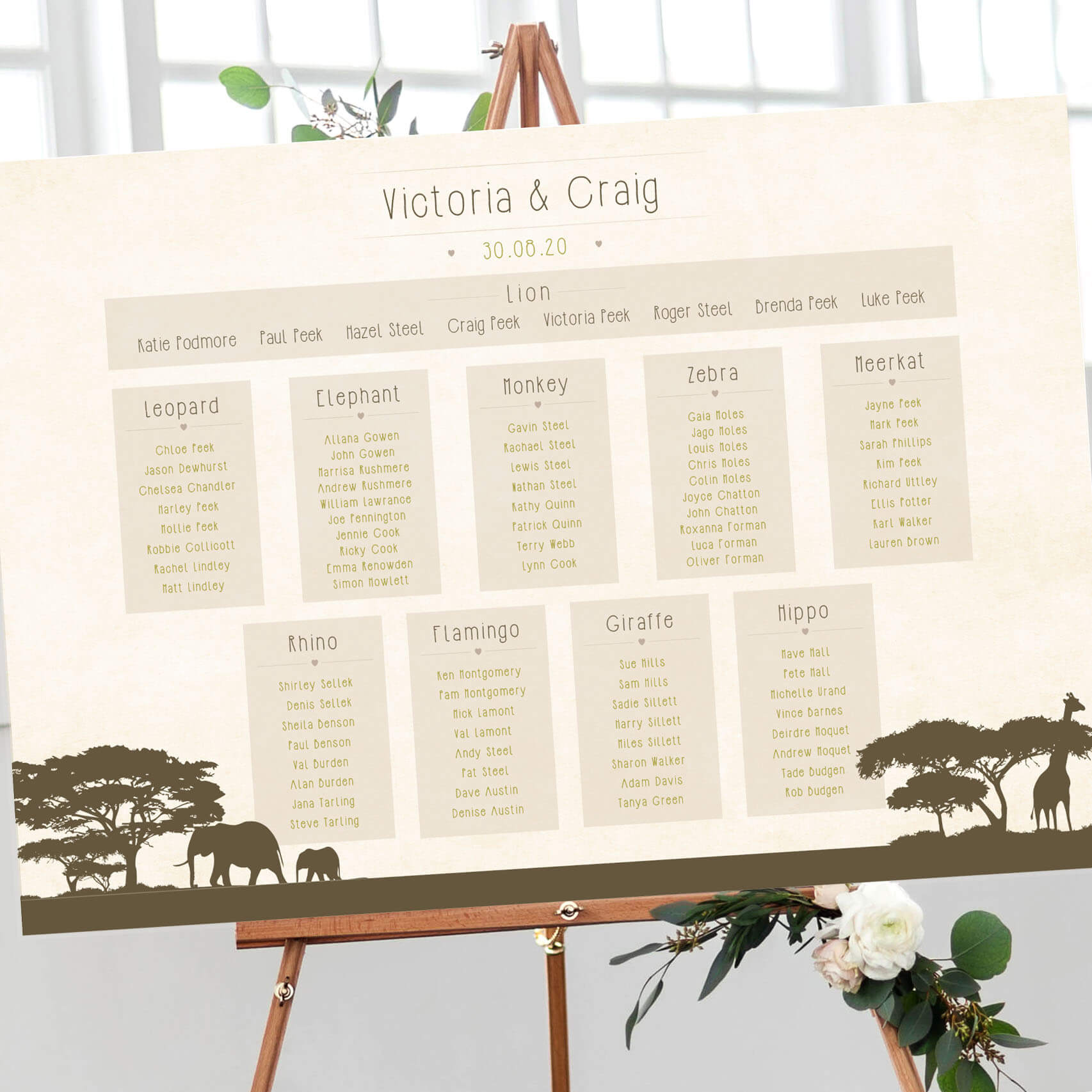 Safari Wedding Table Plan - Designed by Rodo Creative in Manchester