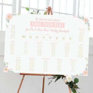 Elegant Floral Table Plan - Designed by Rodo Creative in Manchester