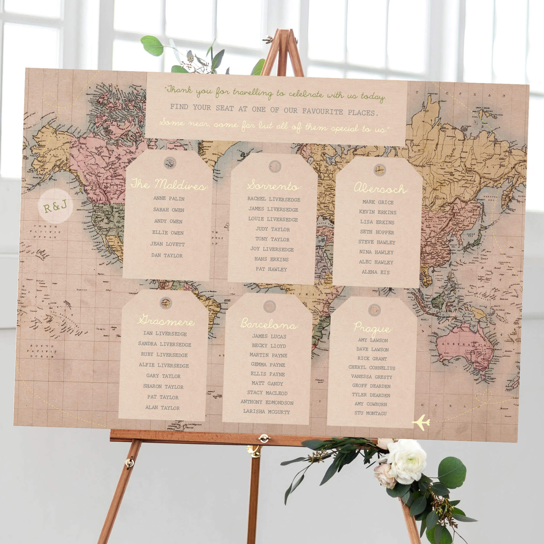 Vintage Travel Map Table Plan designed by Rodo Creative in Sale, Manchester