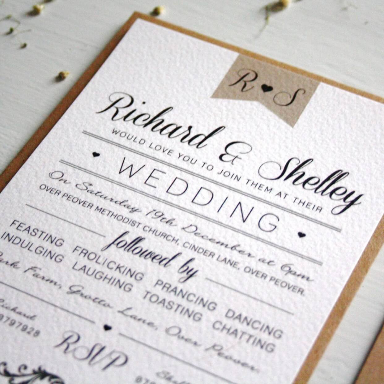 Elegant Type Vintage Wedding Invitation - designed by Rodo Creative in Manchester