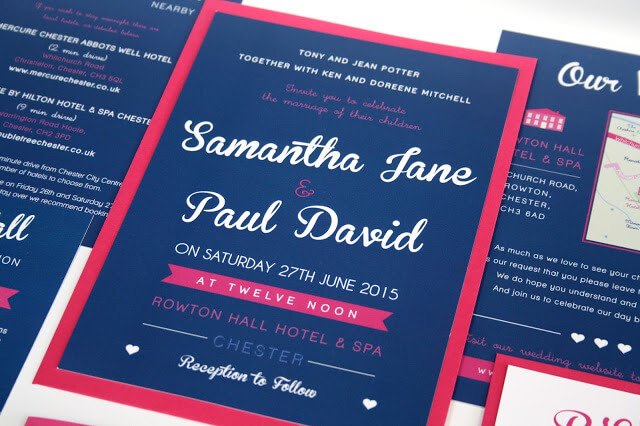 Wedding Invitations in bold navy blue and bright pink designed by Rodo Creative