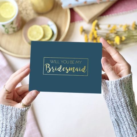 Bridesmaid Gold Foil Card - designed by Rodo Creative in Manchester