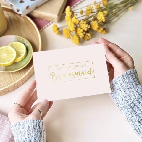 Bridesmaid Gold Foil Pink Card - designed by Rodo Creative in Manchester