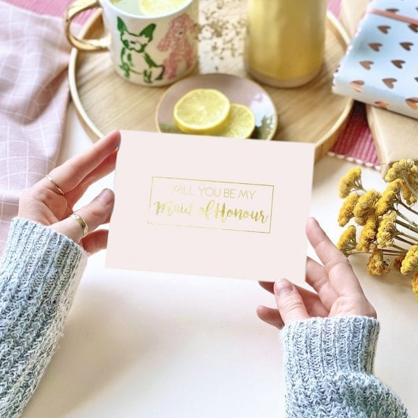 Maid Of Honour Gold Foil Pink Card - designed by Rodo Creative in Manchester