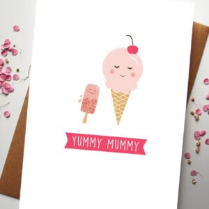 A Mothers Day Card with two ice creams saying Yummy Mummy designed by Rodo Creative
