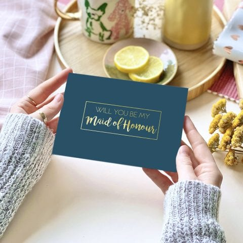 Maid Of Honour Gold Foil Card - designed by Rodo Creative in Manchester