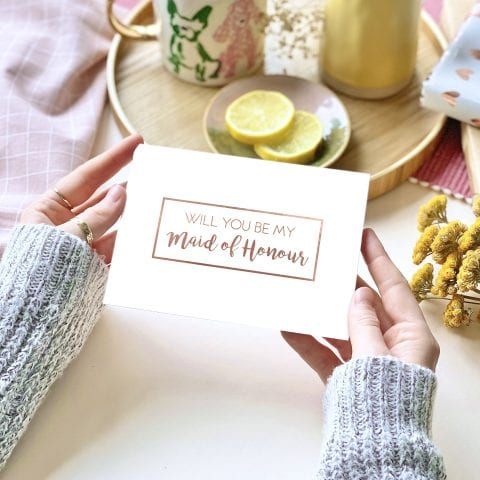 Maid Of Honour Rose Gold Foil Card - designed by Rodo Creative in Manchester