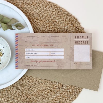Vintage Travel Boarding Pass - Designed by Rodo Creative - Wedding stationery and greetings card design