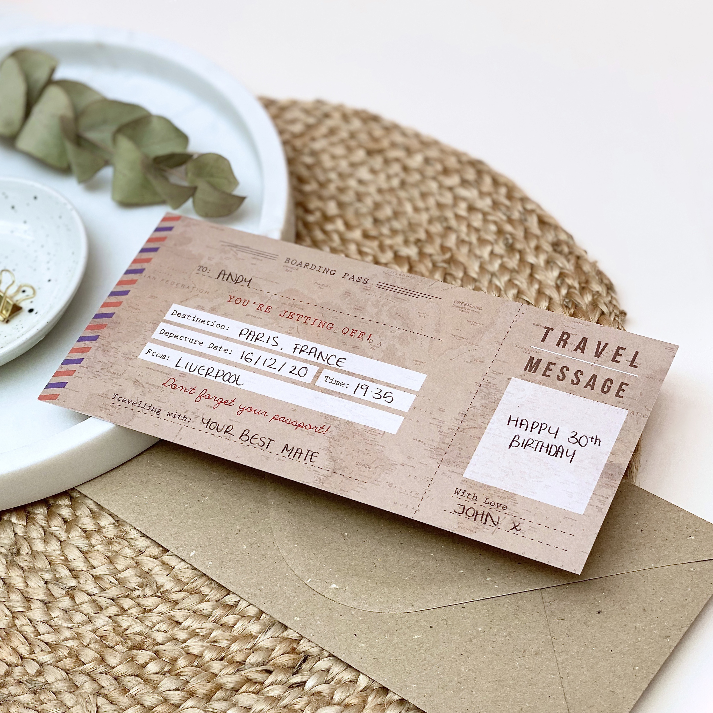Vintage Boarding Pass - Designed by Rodo Creative - Wedding stationery and greetings card design