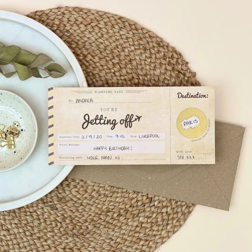 Jetting off Scratch off boarding pass travel gift