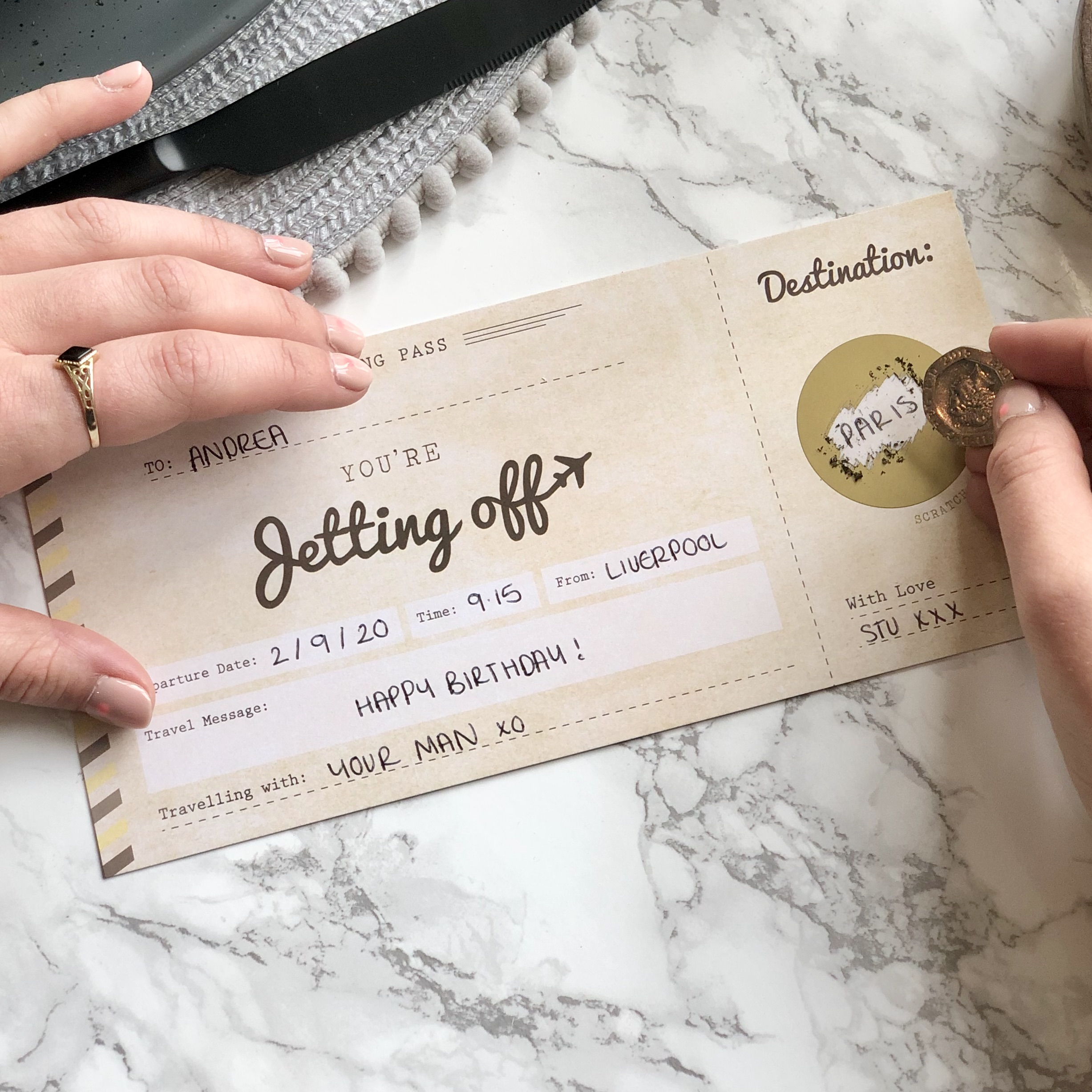 Jetting off Scratch off boarding pass travel gift - Designed by Rodo Creative