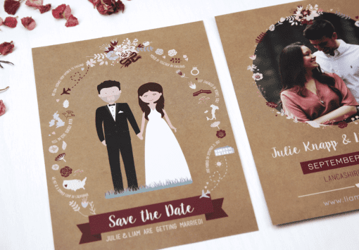 Rustic Illustrated People Save the Dates - Designed by Rodo Creative in Manchester