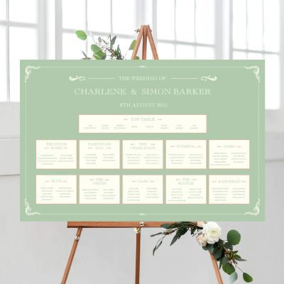 Sage Green Edwardian Table Plan - Designed by Rodo Creative in Manchester