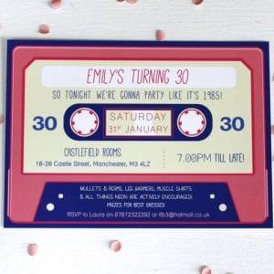 Cassette Tape Birthday Invitations