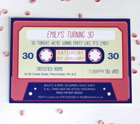 Cassette Tape Birthday Invitations Rodo Creative
